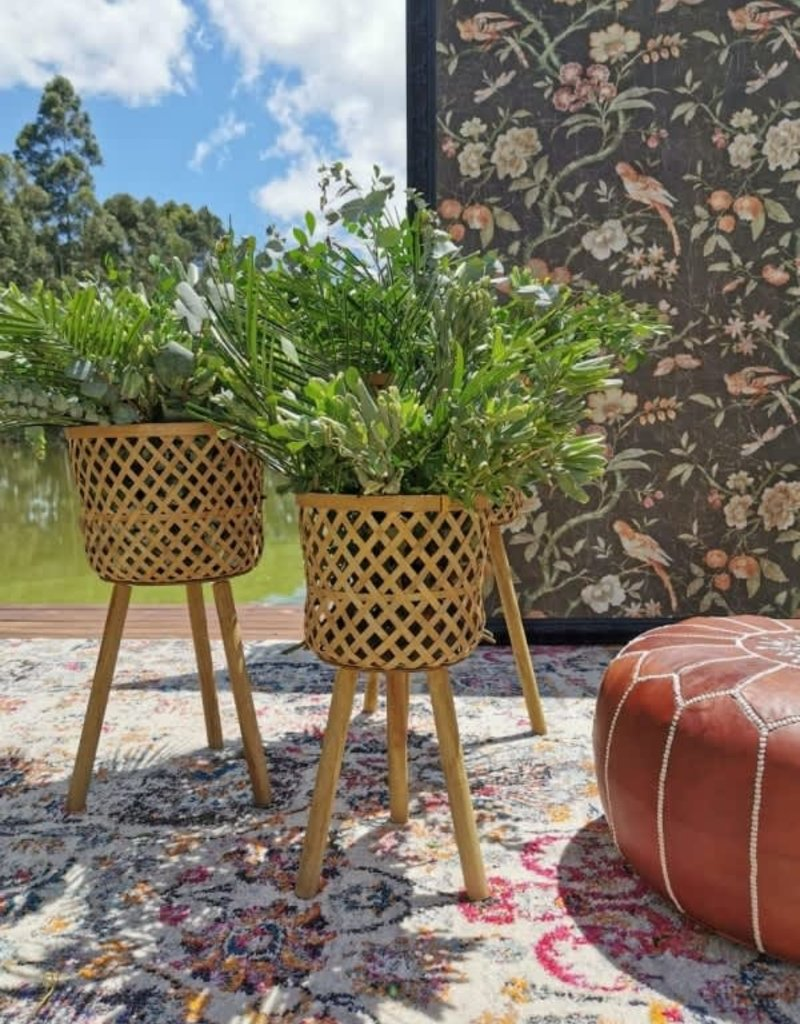 Woven Bamboo Bastekets w/ wood legs Large