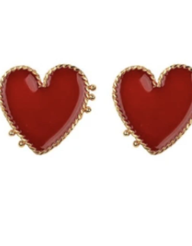 Red Heart earring large DS