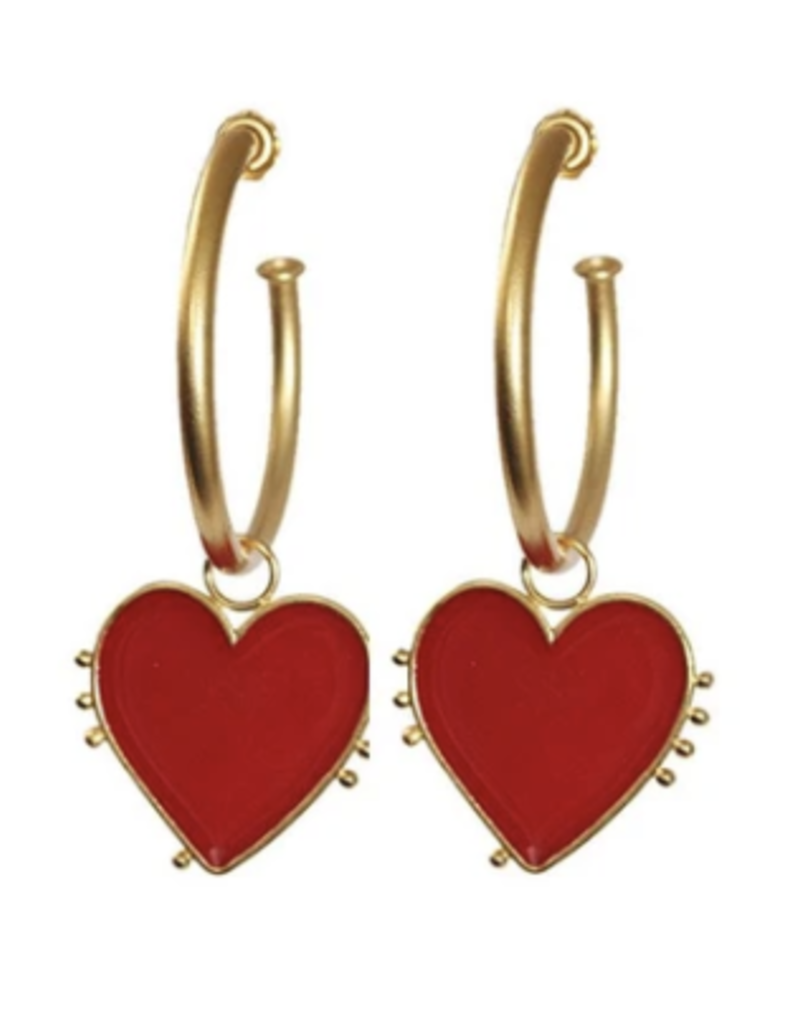 red heart on ring large earring DS