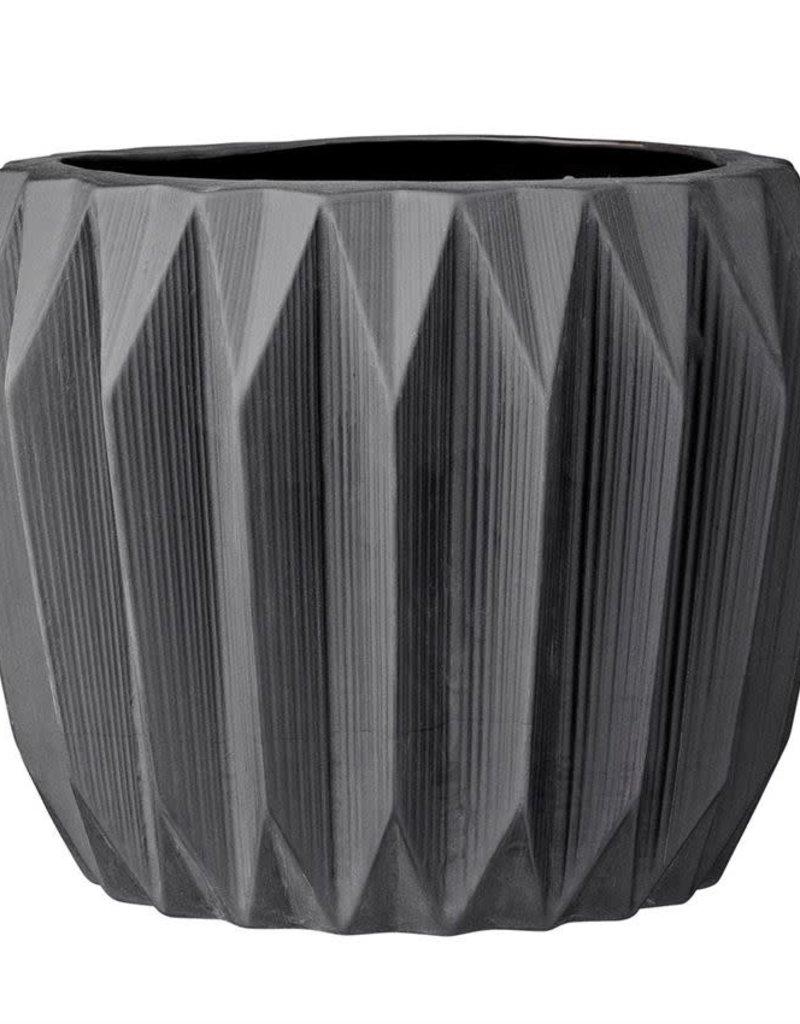 Black Stoneware Fluted Flower Pot
