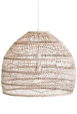 Beige Wicker & Metal Pendant Light
