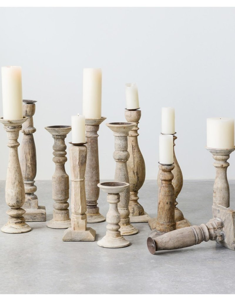 Found Wood & Metal Candle Hodlers, Set of 3