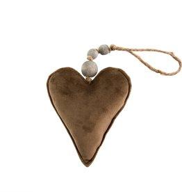 Velvet Heart Ornament Brown