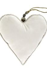 Velvet Heart Ornament Cream