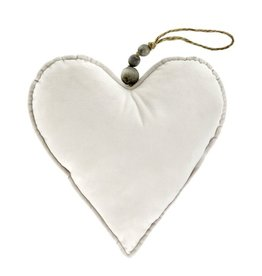 Velvet Heart Ornament Cream