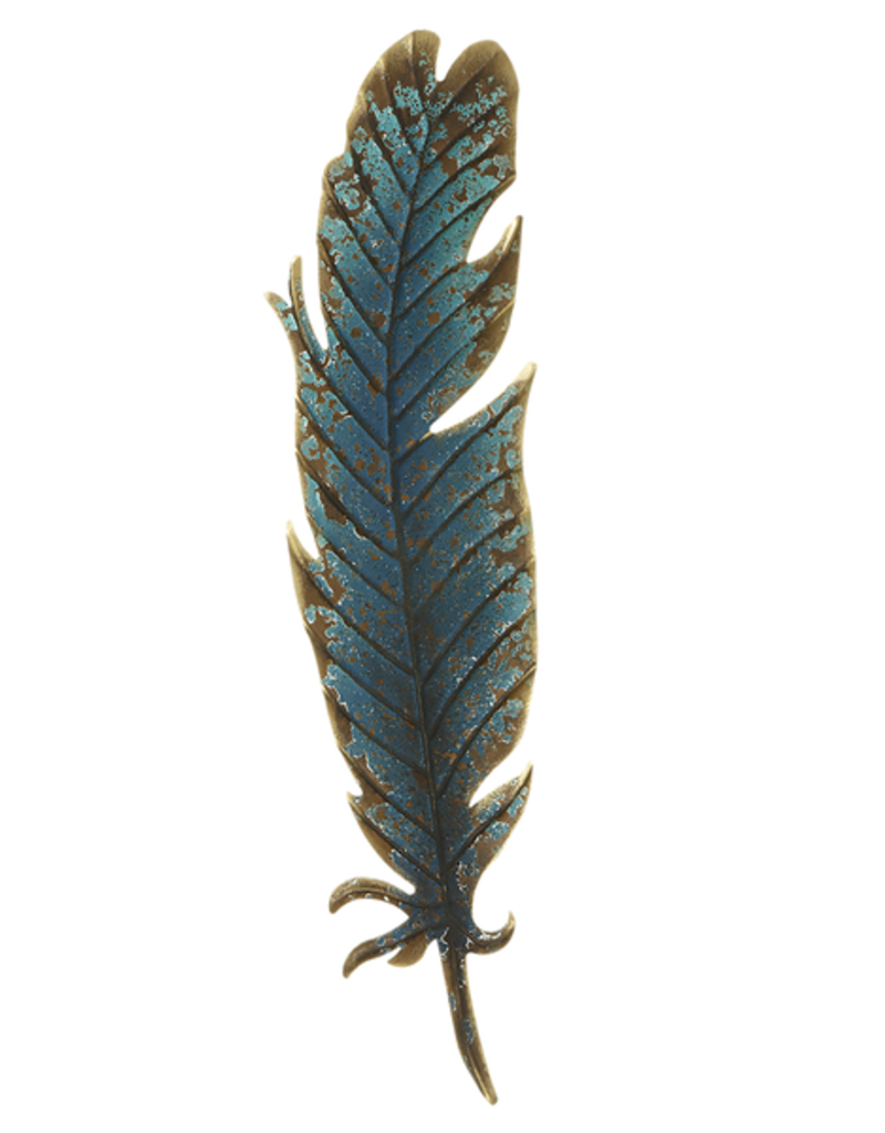 Ganz Distressed Blue Feather Wall Decor