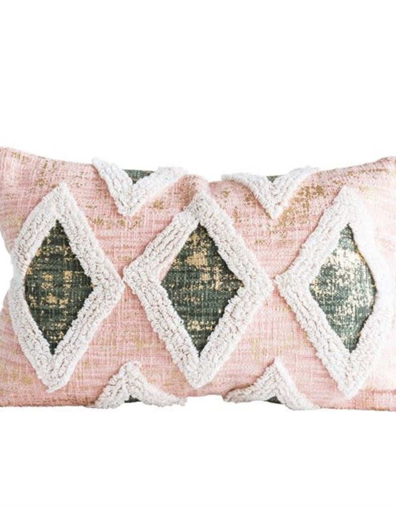 Pink Cotton Pillow w/ Embroidery