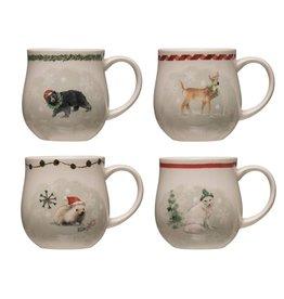 Christmas Stoneware Mug w/ Animals