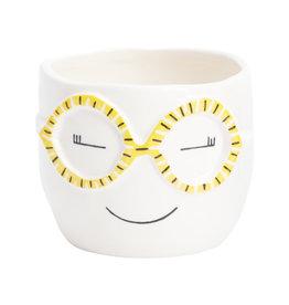 Face yellow glasses Pot