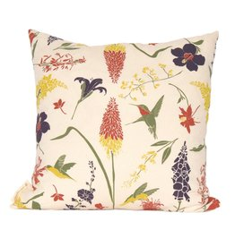 Hummingbird Garden Pillow with Faux Down Insert