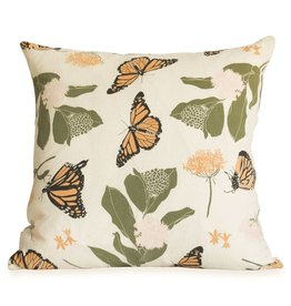Monarchs + Milkweeds Pillow with Faux Down Insert