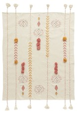 Embroided throw with tassels
