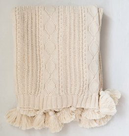 Knit Cable Throw w/ Tassels