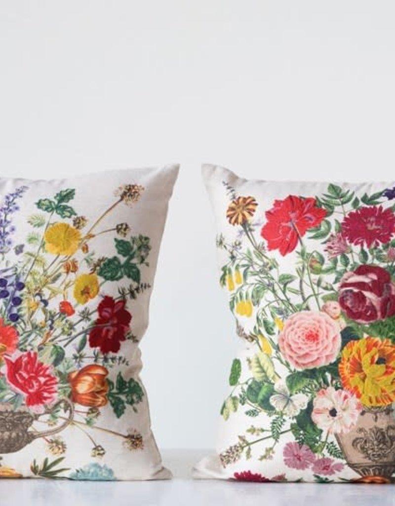 Flower Linen Embroidered Pillow
