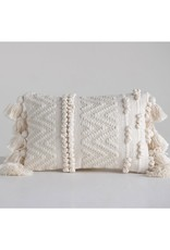 Pillow w/ Pom Poms & Tassels- Woven Cotton