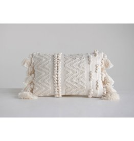 Pillow w/ Pom Poms & Tassels- Woven Cotton