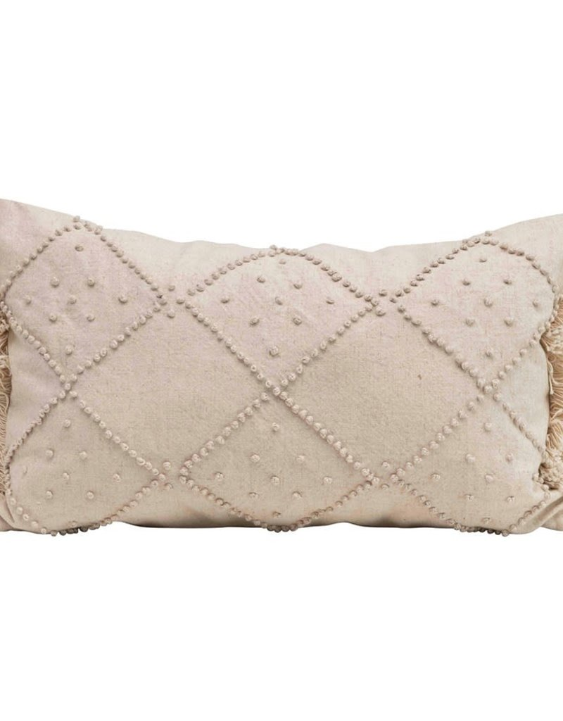 Pillow w/ French Knots & Fringe-Cotton