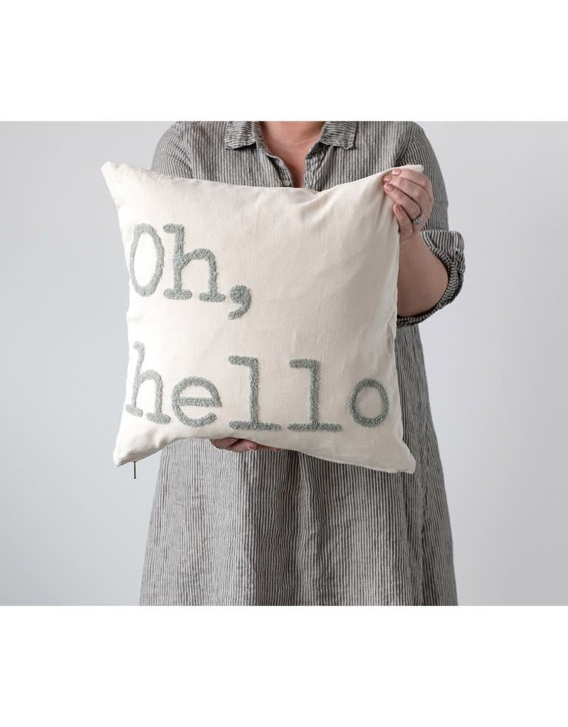 "Embroidery, ""Oh, Hello""-Cotton Pillow"