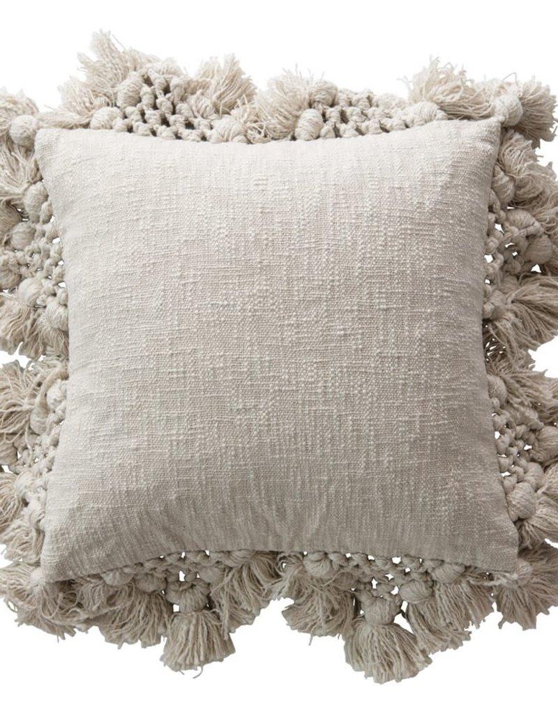 Pillow w/ Pom Poms & Tassels