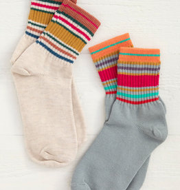 Natural Life Striped Retro Crew Socks