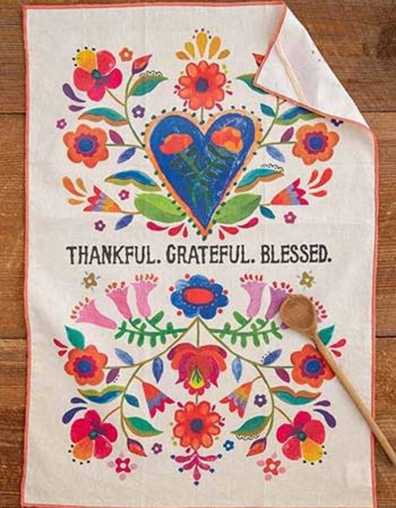 Thankful Grateful Blessed Cotton Dish Towel