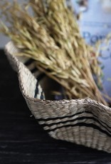 Hand Woven Scalloped Seagrass Basket Stripes