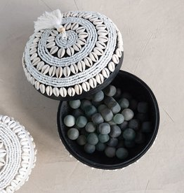 Black Handmade Shell & Bamboo Container