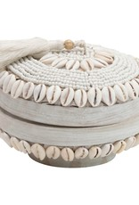 White Handmade Shell & Bamboo Container