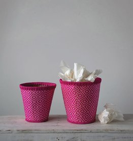 Fuschia Hand-Woven Seagrass Basket Small