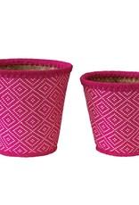 Fuschia Hand-Woven Seagrass Basket Large