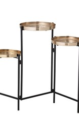Metal Foldable Table Black and Brass