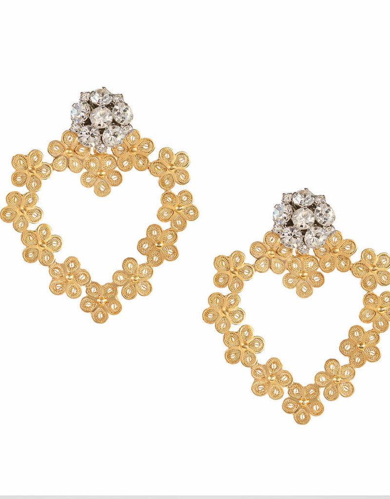 Flower Heart Earrings