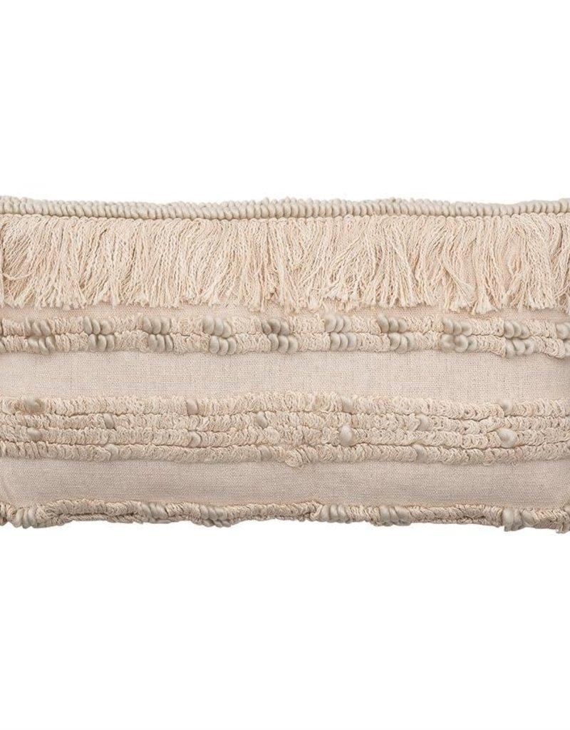 Woven Cotton & Wool Blend Lumbar Pillow