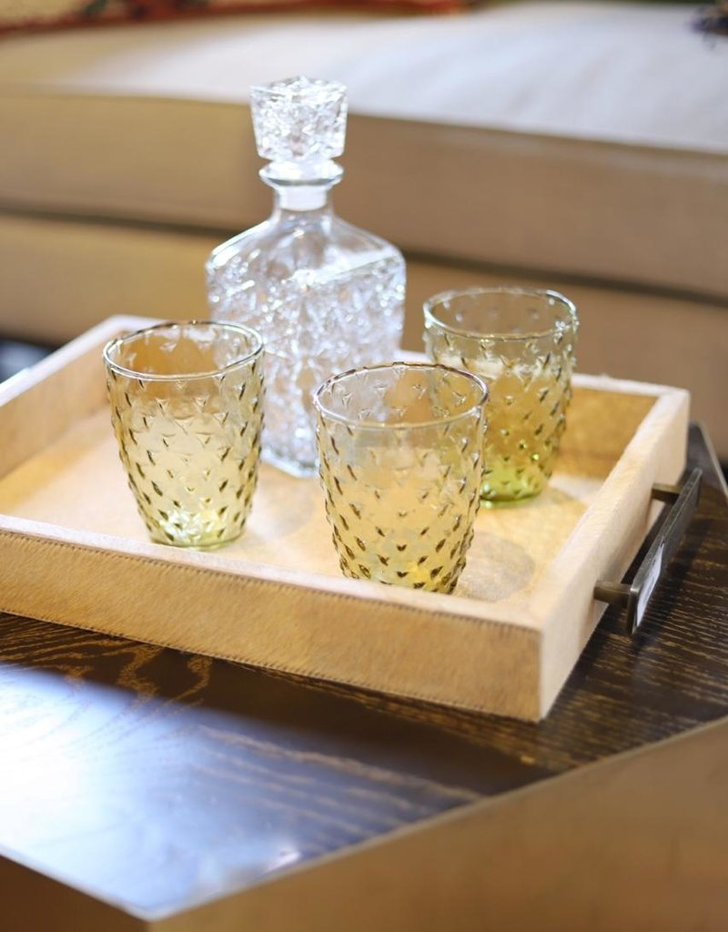 Embossed Recycled Drinking Glass Olive Color