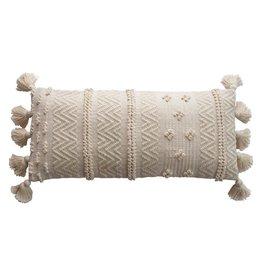 Woven Cotton Lumbar Pillow w/ Pom Poms