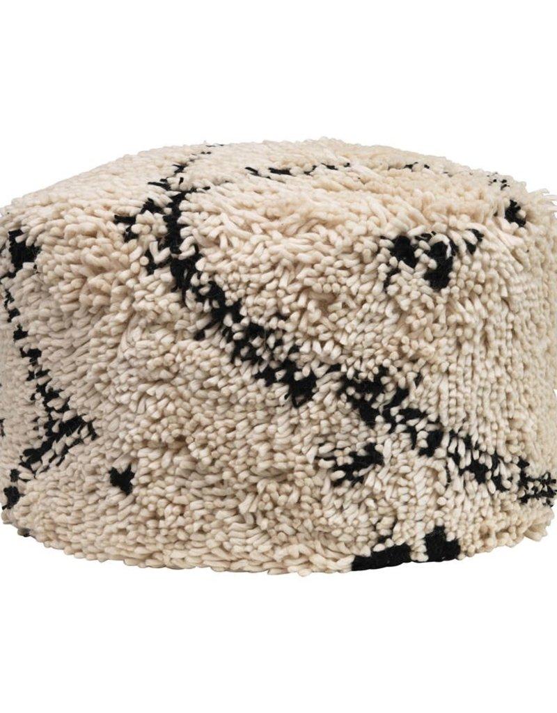 Woven Wool Shag Pouf Black & Cream Color