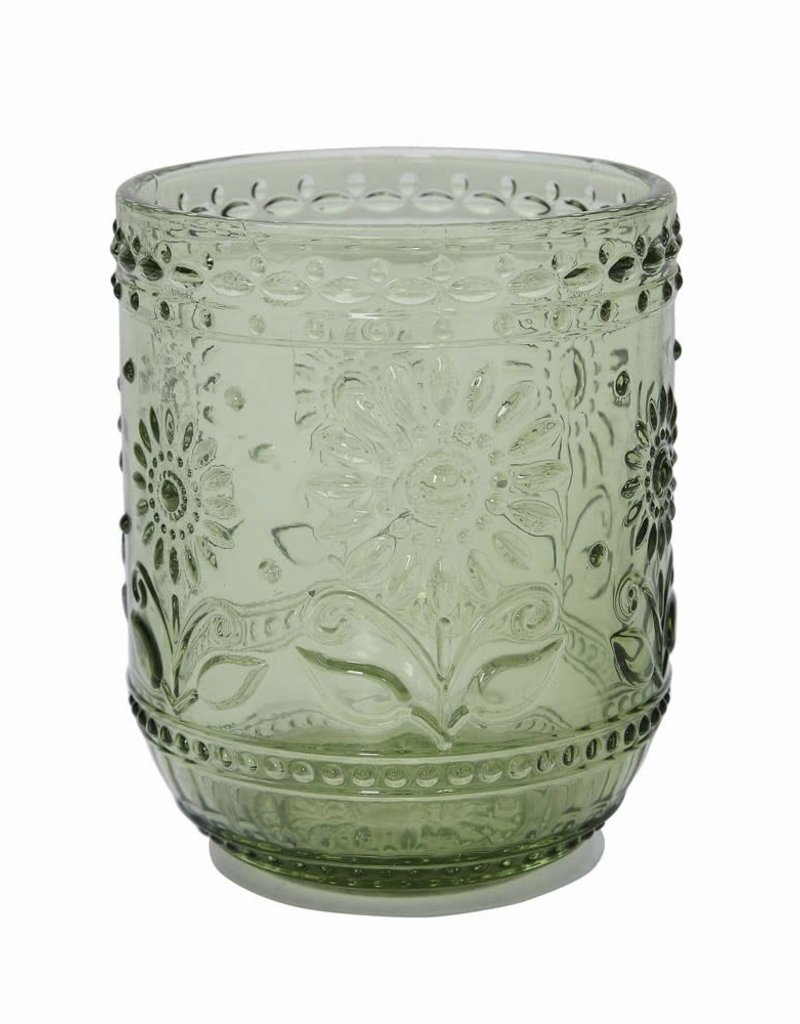 Embossed Drinking Glass Green Color