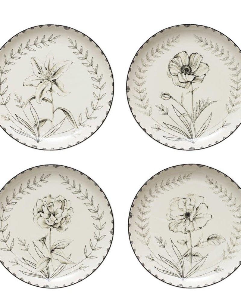 Stoneware Plate Floral