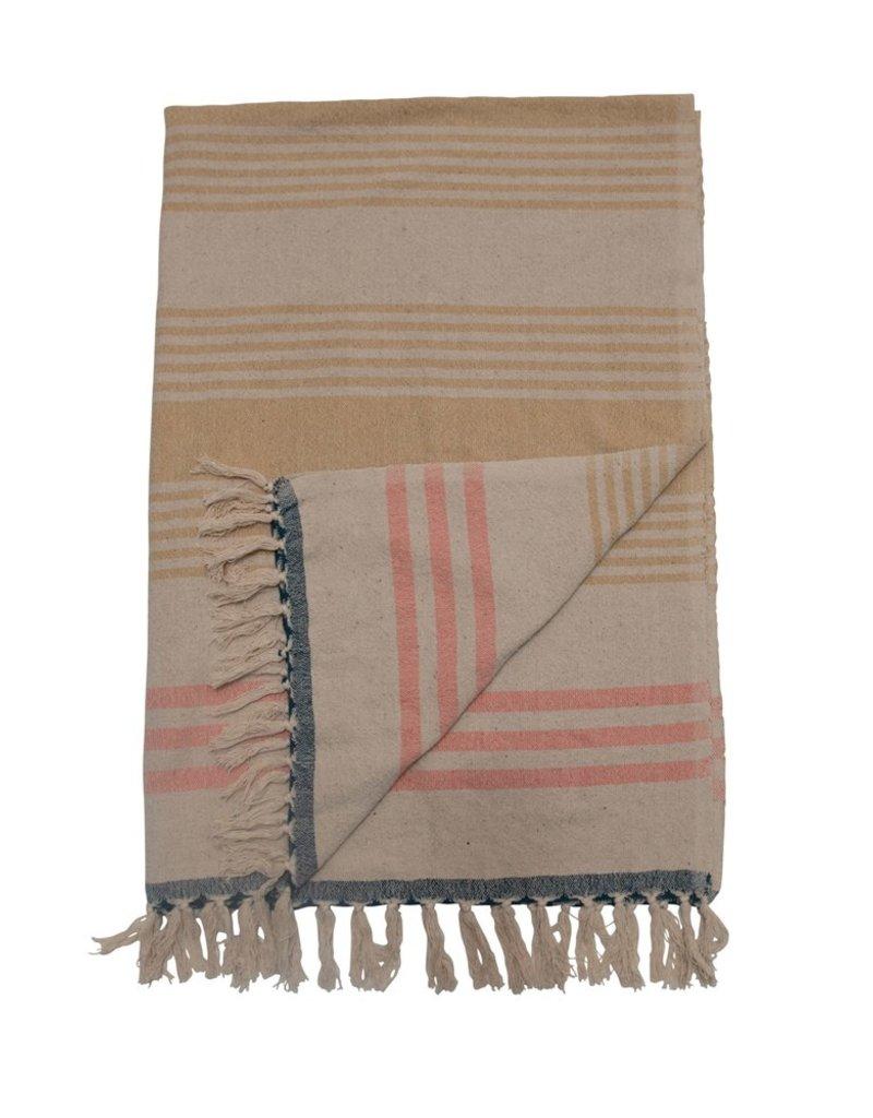 Woven Recycled Cotton Throw Stripes