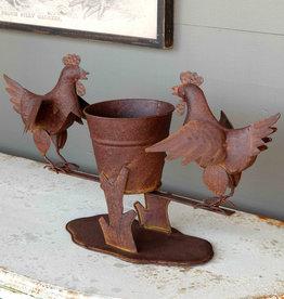 Metal Chicken Planter