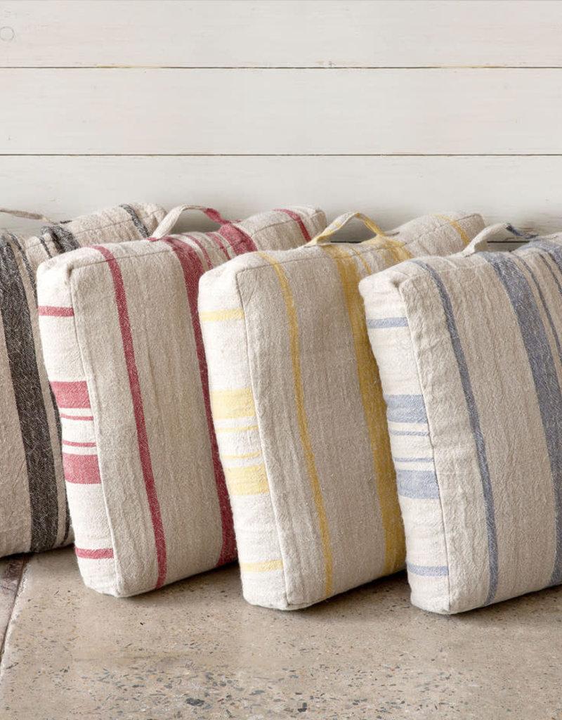 Linen Floor Cushion Natural/Black