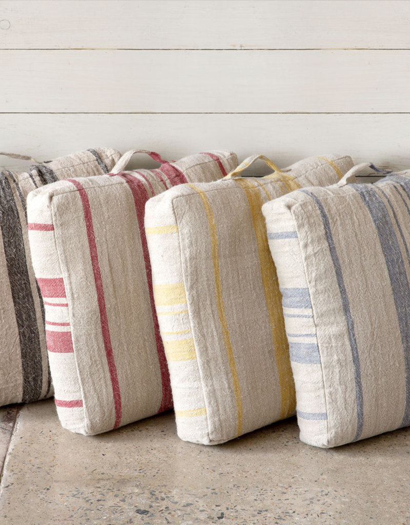 Linen Floor Cushion Natural/Red