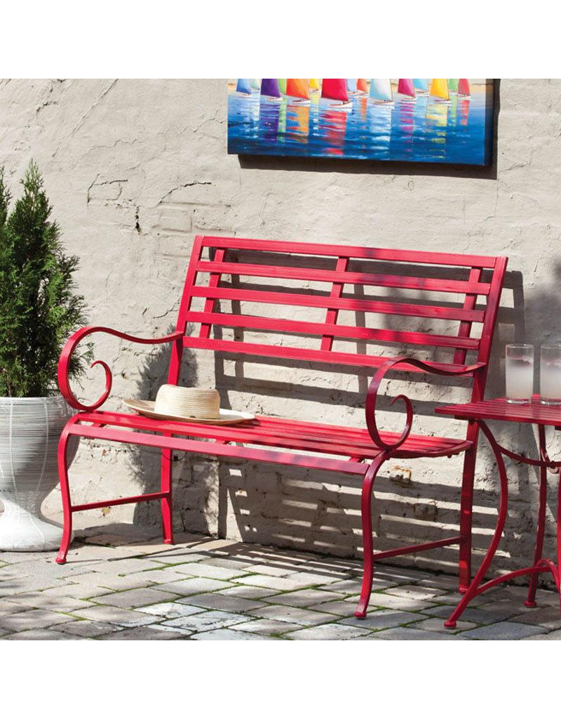 Metal Garden Bench, Red