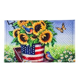 Patriotic Sunflower Wagon Embossed Floor Mat