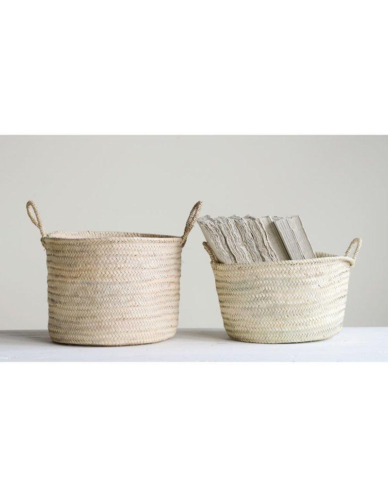 Hand-Woven Moroccan Basket w/Handles