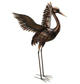 """Bronze Crane 44"""" - Wings Up"""