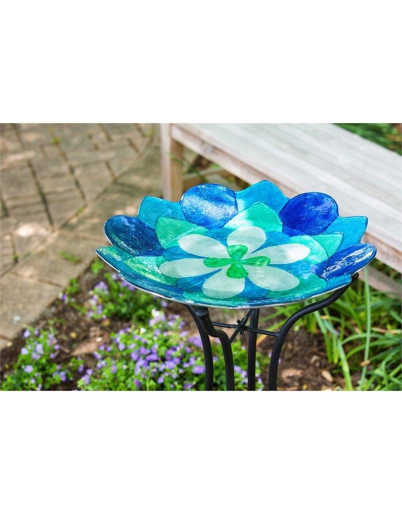 "18"" Glass Birdbath, Blue Peony"