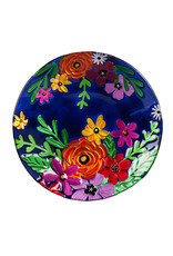 Embossed Glass Birdbath, Bright Florals