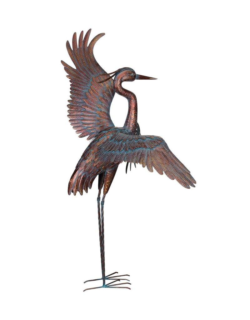 """Copper Patina Heron 48""""- Dancing"""