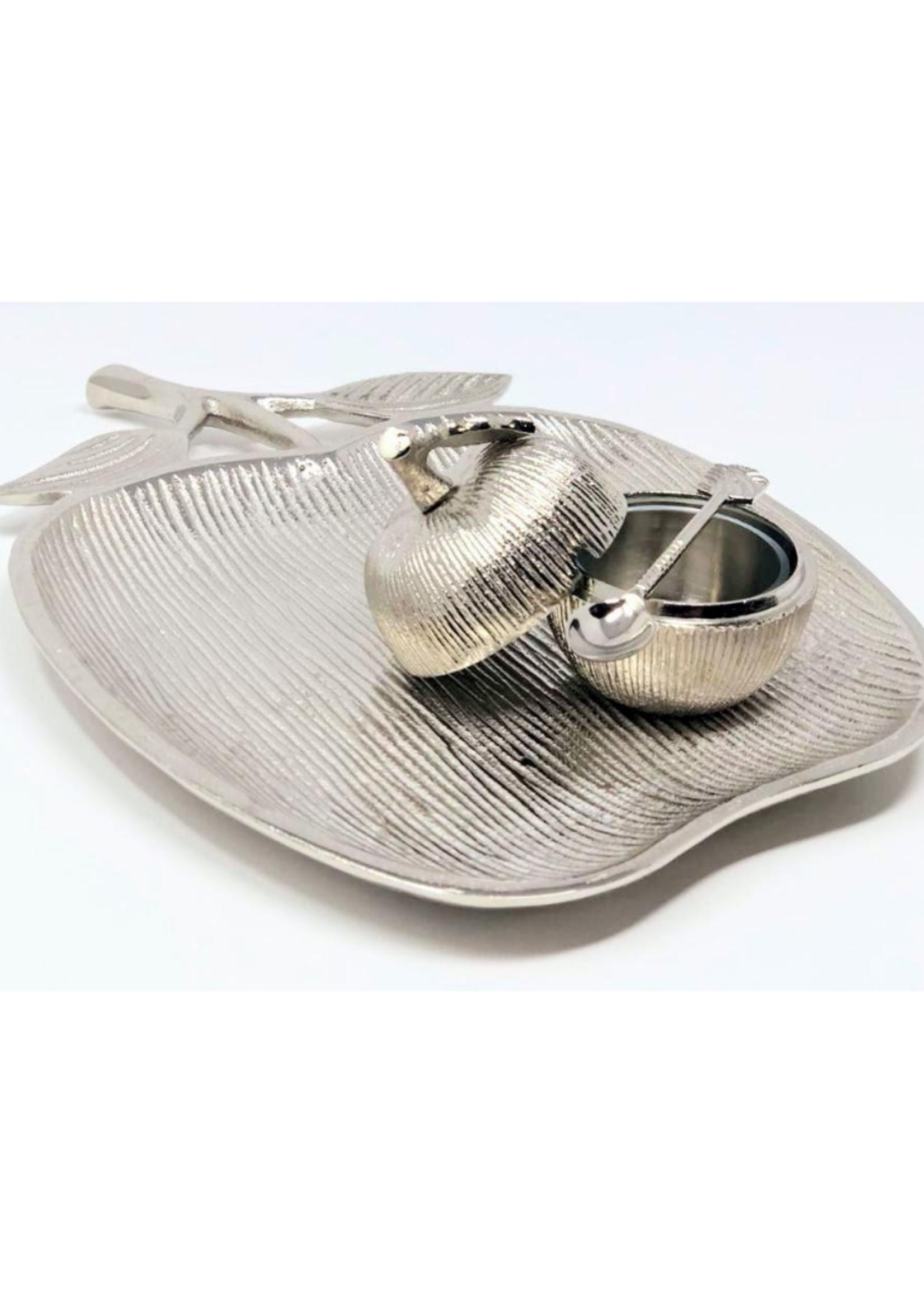Silver Apple Dish & Honey Jar
